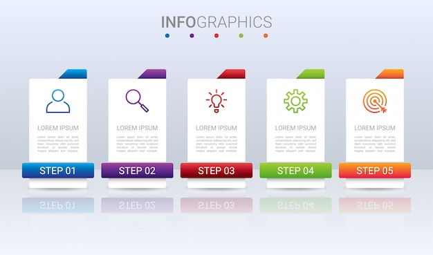Visualización de datos comerciales, plantilla de infografía con pasos sobre fondo gris,