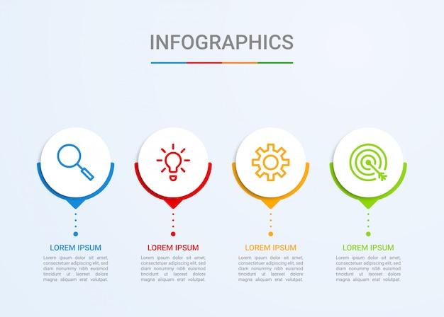 Visualización de datos comerciales, plantilla infográfica con 4 pasos.