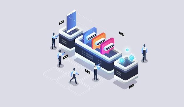 Visualización de datos. concepto de gestión de redes de datos. máquina de redes sociales.