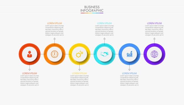 Visualización de datos empresariales. iconos de infografía línea de tiempo diseñados para plantilla abstracta