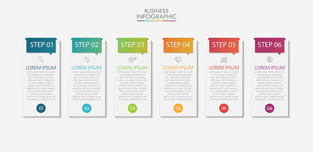 Visualización de datos empresariales. iconos de infografía de línea de tiempo