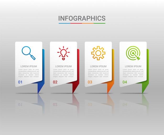 Visualización de datos empresariales, plantilla de infografía con 4 pasos.
