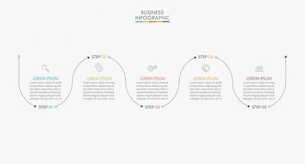 Visualización de datos empresariales. plantilla de infografía de línea de tiempo