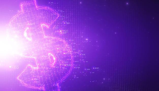 Visualización de datos grandes 3d abstracto violeta con símbolo de dólar