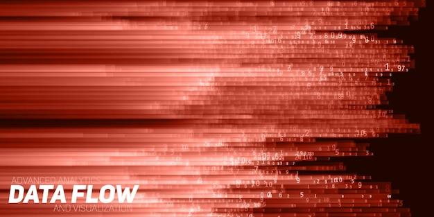 Visualización de datos grandes abstractos del vector. flujo rojo de datos como cadenas de números. representación del código de información. análisis criptográfico. bitcoin, transferencia de blockchain. flujo de datos codificados.