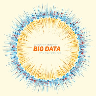 Visualización de datos grandes redondos abstractos.