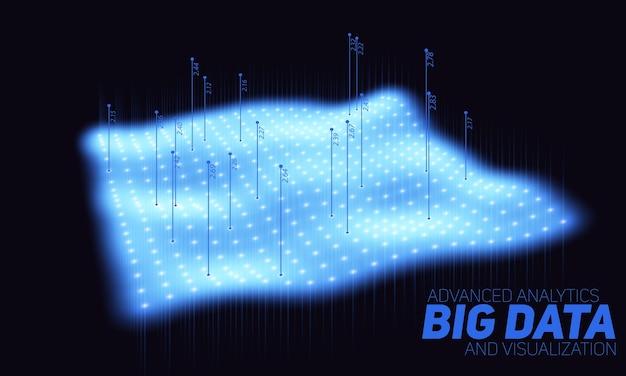 Visualización del diagrama azul de big data. infografía futurista. diseño de información estética. complejidad de datos visuales. visualización gráfica de hilos de datos complejos.
