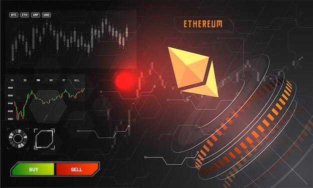 Visualización frontal de una plataforma comercial ethereum (eth).
