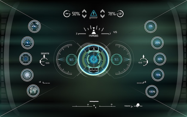 Visualización del futuro con visualización frontal. resumen de hud. conjunto de interfaz de usuario de juego moderno de ciencia ficción futurista.
