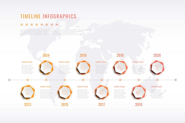 Visualización moderna de la historia corporativa con elementos hexagonales, indicación del año y mapa mundial