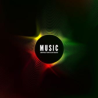 Visualización de ondas sonoras circulares. fondo de música abstracta. flujo de audio de estructura de color. ilustración