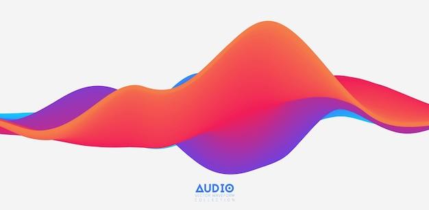 Visualización de ondas sonoras. forma de onda sólida colorida 3d. patrón de muestra de voz.