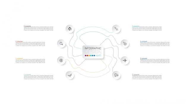 Visualización proporcional por infografía con línea de trazo que muestra resultados de informes