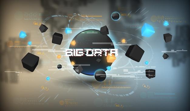 Visualización de resumen de grandes datos. diseño estético futurista. gran fondo de datos con elementos de hud.