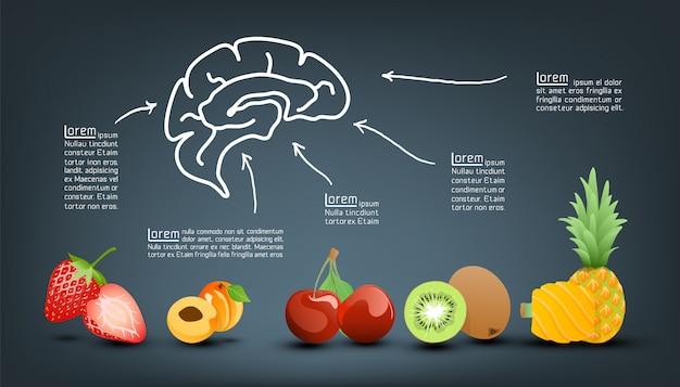 Vitamina valor nutritivo de frutas infografía plantilla