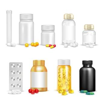 Vitaminas 3d y conjunto de envases