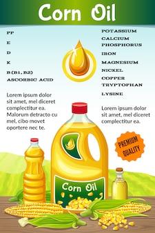 Vitaminas en aceite de maíz.