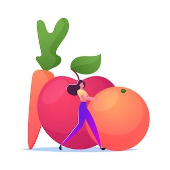Vitaminas en frutas o vegetales, dieta vegetariana.