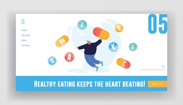 Vitaminas en la página de inicio del sitio web de productos.