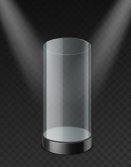 Vitrina para cilindros de vidrio. estuche vacío de plástico transparente con bandeja debajo de focos, maqueta realista. stand de exposición de museo para presentación de producto y plantilla de vector de exposición 3d sobre fondo transparente