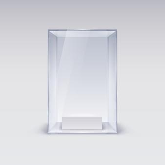 Vitrina de cristal para presentación sobre fondo blanco.