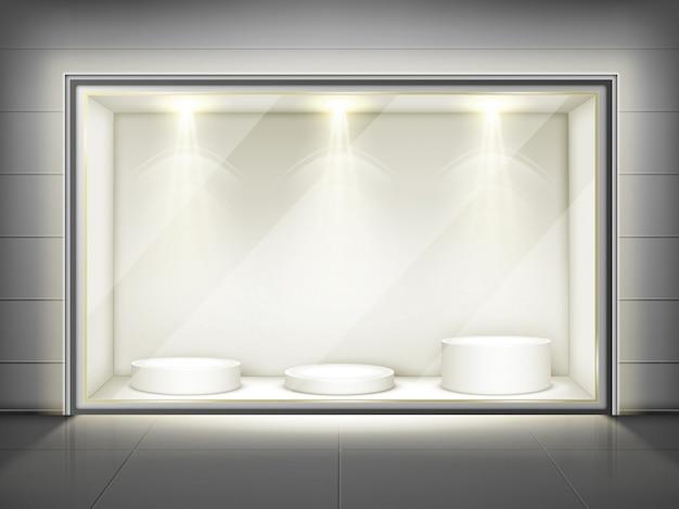Vitrina con pared de vidrio y podios redondos.