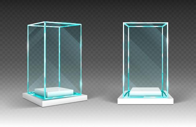 Vitrina de vidrio con base de plástico