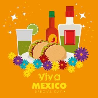 Viva mexico. celebración del día de los muertos con comida tradicional.