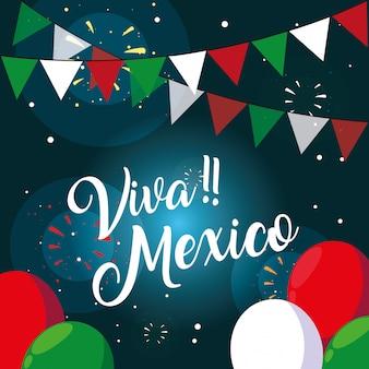 Viva mexico etiqueta con bandera mexicana