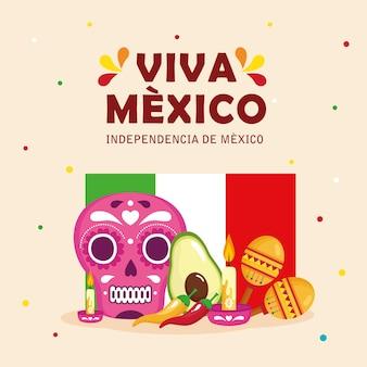 Viva mexico, feliz día de la independencia, 16 de septiembre con bandera e iconos tradicionales decorados.