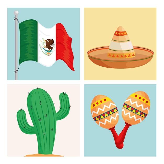 Viva mexico iconos tradicionales