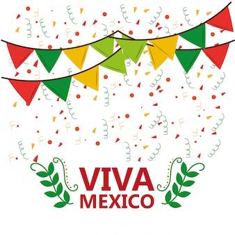 Viva mexico poster confetti guirnalda hojas fiesta