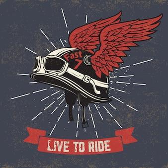 Viva para montar. casco de moto con alas sobre fondo grunge. elemento para impresión de camiseta, póster, emblema, insignia, signo.