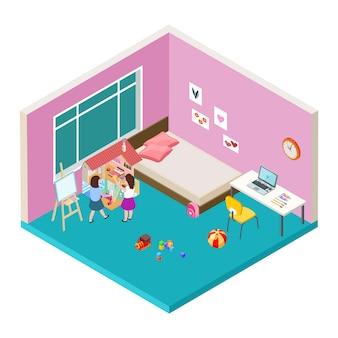 Vivero isométrico. dos niñas están jugando con una gran casa de muñecas. vector concepto de infancia feliz