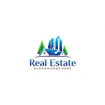 Vivienda realista y logotipo de propiedad.