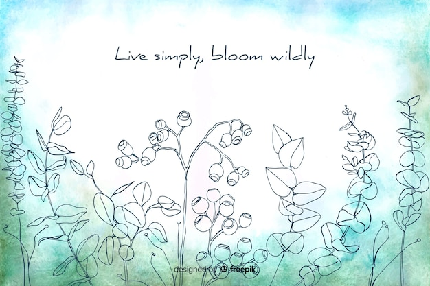 Vivir simplemente florecer salvajemente fondo floral acuarela