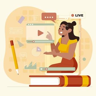 Vlogger en la ilustración de las redes sociales