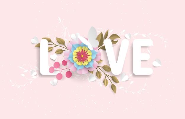 El vocabulario de amor consiste en flores y mariposas que parecen un corte de papel, en un fondo rosa.