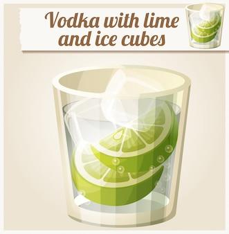 Vodka con limón y cubitos de hielo. icono de vector detallado