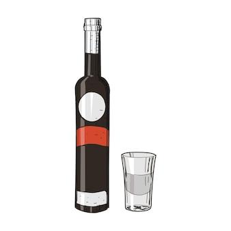 Vodka y vidrio en estilo vintage aislado en blanco