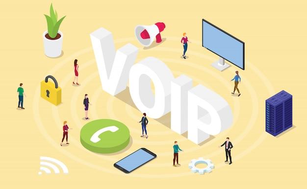 Voip voz sobre el concepto de protocolo de internet con grandes palabras y personas isometría isométrica moderna 3d