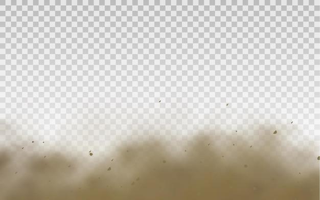 Volando arena marrón polvorienta carretera nube o arena seca volando con una ráfaga de viento tormenta de arena