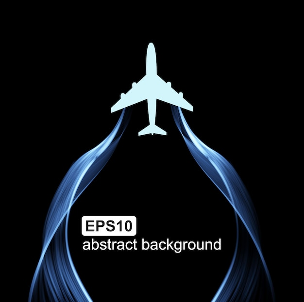 Volando el avión y la ola de humo.
