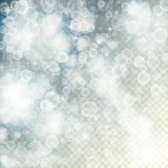 Volando fuera de foco luz con bokeh y estrellas sobre fondo transparente borroso. vector ilustración desenfocada eps10