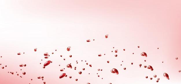 Volando gotas rojas de sangre o vino