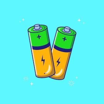 Volando ilustración icono plano baterías cilindro alcalino verde aislado