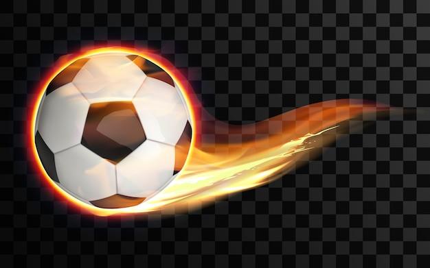 Volando pelota de fútbol o fútbol ardiente sobre fondo transparente.