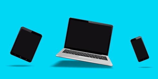 Volando portátil, móvil y tableta con pantalla en blanco aislada