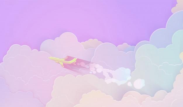 Volando a través de hermosas nubes a toda velocidad