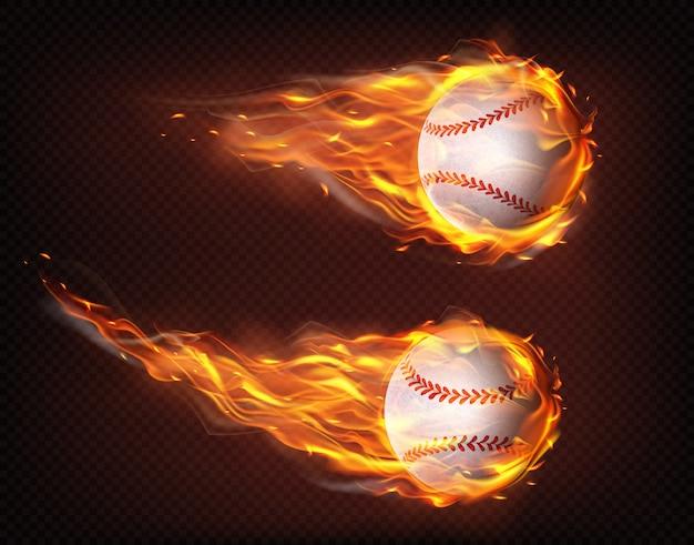 Volando en vector realista de pelotas de béisbol de llamas